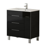 "Eviva Geminis? 28"" Black Modern Bathroom Vanity with White Integrated Porcelain Sink"