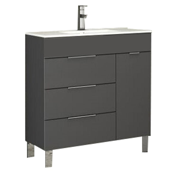 "Eviva Geminis? 28"" Grey Modern Bathroom Vanity with White Integrated Porcelain Sink"