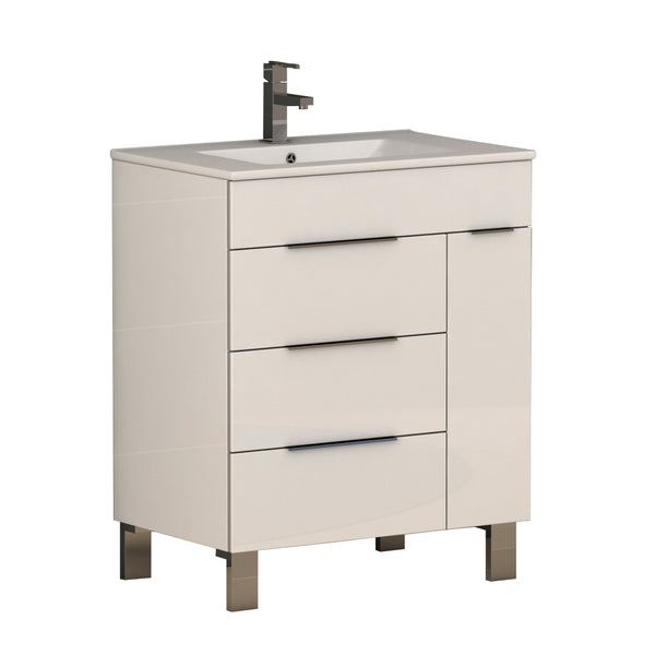 "Eviva Geminis? 28"" White Modern Bathroom Vanity with White Integrated Porcelain Sink"