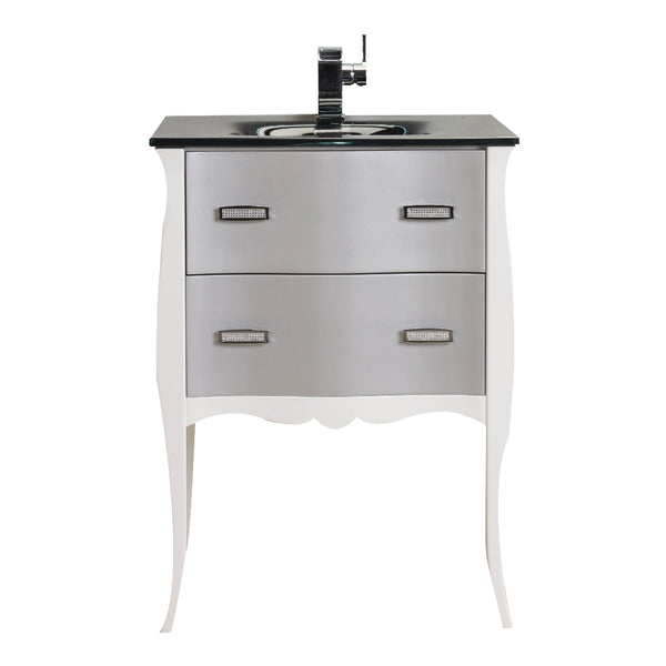 Eviva Aranjuez? 24?  White & Silver Modern Bathroom Vanity Set with Integrated Sink