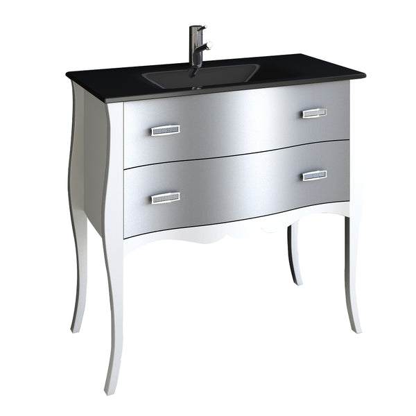 Eviva Aranjuez? 32?  White & Silver Modern Bathroom Vanity Set with Integrated Sink