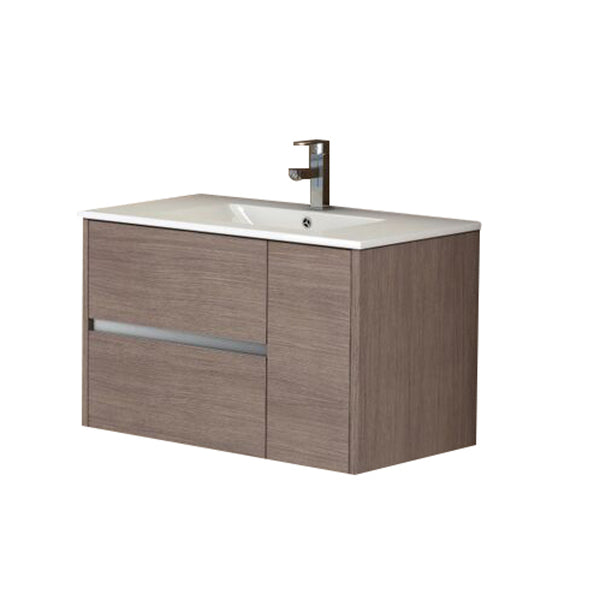 "Eviva Aries? 32"" Medium Oak Modern Bathroom Vanity  Wall Mount with White Integrated Porcelain sink"