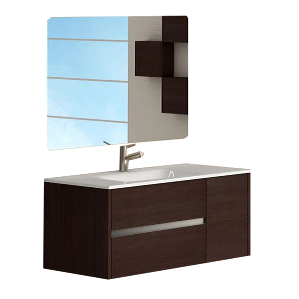 "Eviva Aries? 32"" Wenge Modern Bathroom Vanity  Wall Mount with White Integrated Porcelain sink"