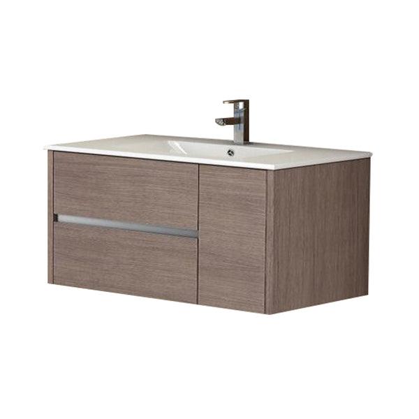 "Eviva Aries? 39"" Medium Oak Modern Bathroom Vanity  Wall Mount with White Integrated Porcelain sink"