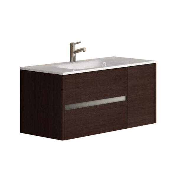 "Eviva Aries? 39"" Wenge Modern Bathroom Vanity  Wall Mount with White Integrated Porcelain sink"