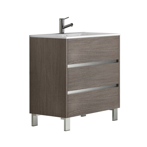 "Eviva Escorpio? 32"" Medium Oak Modern Bathroom Vanity  Wall Mount with White Integrated Porcelain Sink"