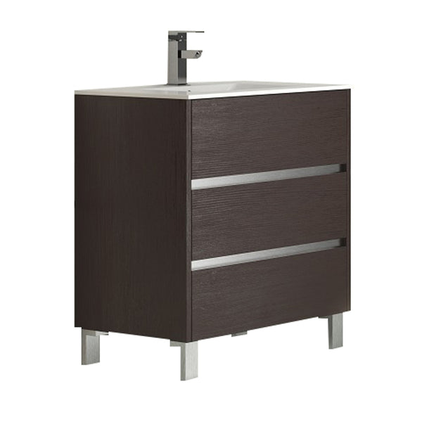 "Eviva Escorpio? 32"" Wenge Modern Bathroom Vanity  Wall Mount with White Integrated Porcelain Sink"