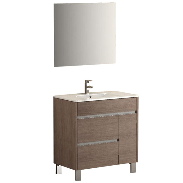 "Eviva Tauro? 32"" Medium Oak Modern Bathroom Vanity Set with Integrated White Porcelain Sink"