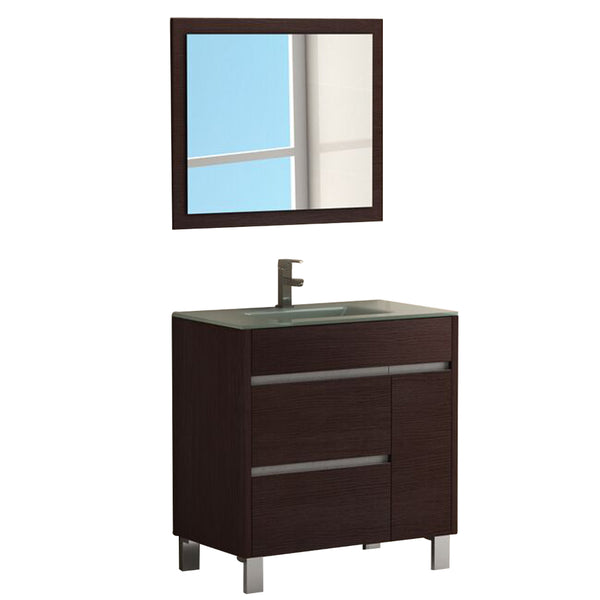 "Eviva Tauro? 32"" Wenge(Dark Brown) Modern Bathroom Vanity Set with Integrated White Porcelain Sink"