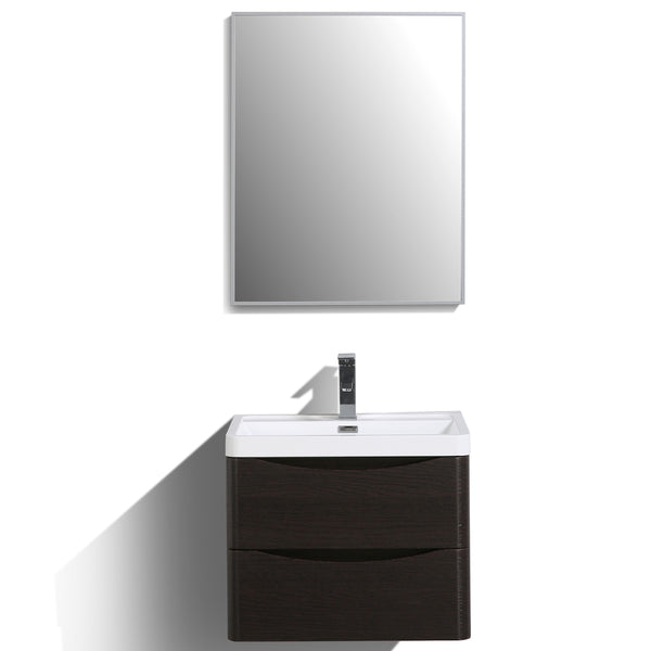 "Eviva Smile? 24"" Chest-nut Modern Bathroom Vanity Set with Integrated White Acrylic Sink"