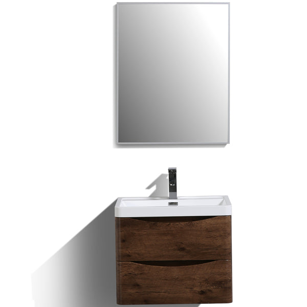 "Eviva Smile? 24"" Rosewood Modern Bathroom Vanity Set with Integrated White Acrylic Sink"