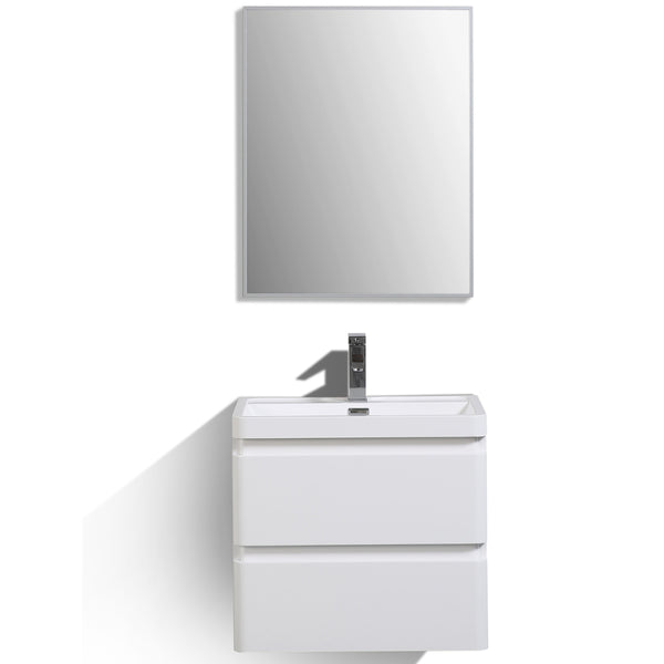 "Eviva Glazzy? 24"" Wall Mount Modern Bathroom Vanity (High Glossy White)"