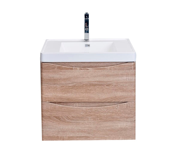 "Eviva Smile? 24"" White Oak Wall Mount Modern Bathroom Vanity Set with Integrated White Acrylic Sink"