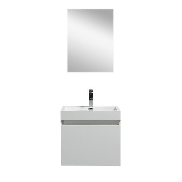 "Eviva Drop 24"" White Wall Mount Modern Bathroom Vanity with White Integrated Acrylic Sink"