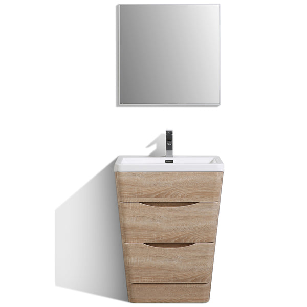 "Eviva Victoria 25"" White Oak Modern Bathroom Vanity with White Integrated Acrylic Sink"