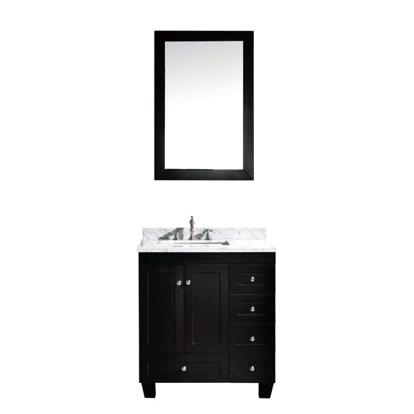 "Eviva Acclaim C. 30"" Transitional Espresso Bathroom Vanity with white carrera marble counter-top"
