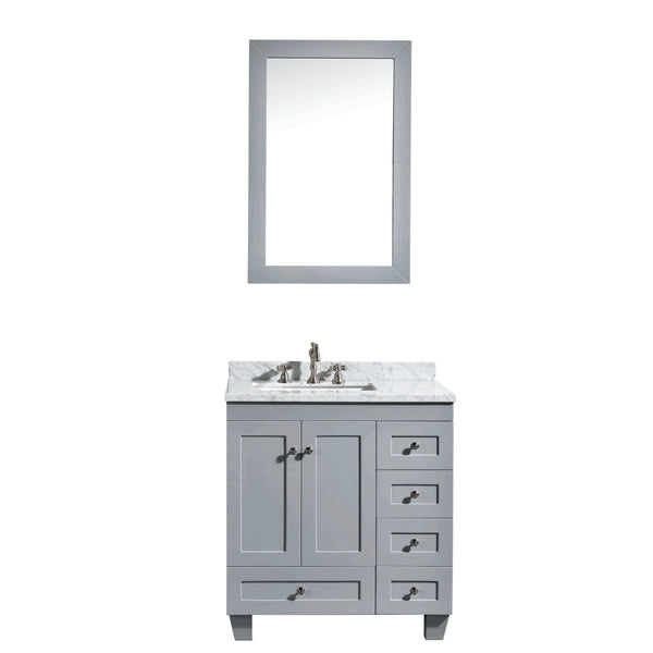 "Eviva Acclaim C. 30"" Transitional Grey Bathroom Vanity with white carrera marble counter-top"