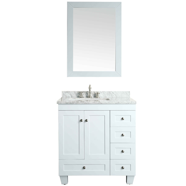 "Eviva Acclaim C. 30"" Transitional White Bathroom Vanity with white carrera marble counter-top"