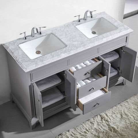 "Eviva Elite Princeton 72"" Gray Double Sink Bathroom Vanity w/ Double Ogee Edge White Carrara Top"