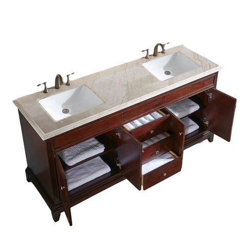 "Eviva Elite Princeton 72"" Teak Double Sink Bathroom Vanity w/ Double Ogee Edge Crema Marfil Top"