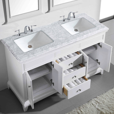 "Eviva Elite Princeton 72"" White Double Sink Bathroom Vanity w/ Double Ogee Edge White Carrara Top"