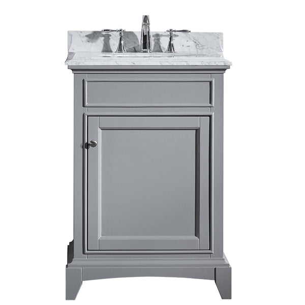 "Eviva Elite Stamford? 24""  Gray Solid Wood Bathroom Vanity Set with Double OG White Carrera Marble Top & White Undermount Porcelain Sink"