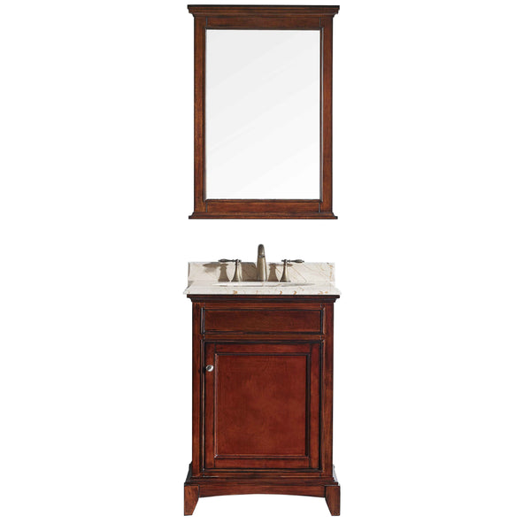 "Eviva Elite Stamford? 24"" Brown Solid Wood Bathroom Vanity Set with Double OG Crema Marfil Marble Top & White Undermount Porcelain Sink"