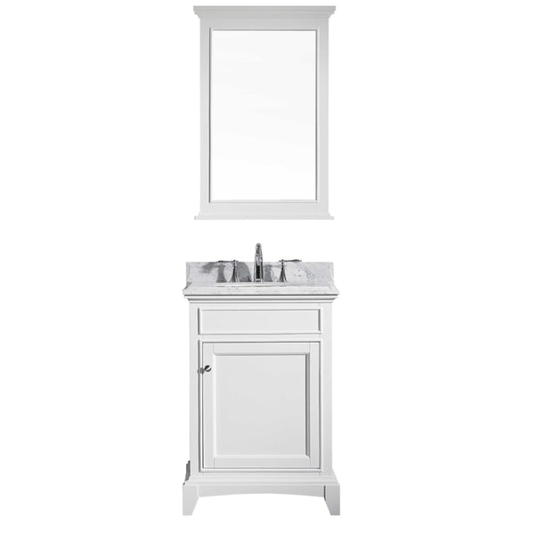 "Eviva Elite Stamford? 24"" White Solid Wood Bathroom Vanity Set with Double OG White Carrera Marble Top & White Undermount Porcelain Sink"