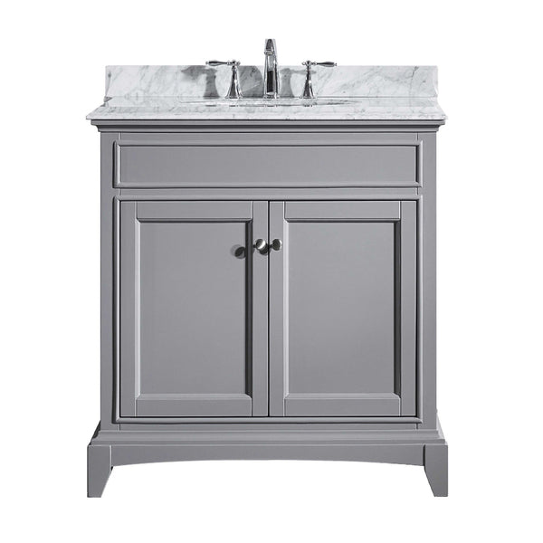 "Eviva Elite Stamford? 30""  Gray Solid Wood Bathroom Vanity Set with Double OG White Carrera Marble Top & White Undermount Porcelain Sink"