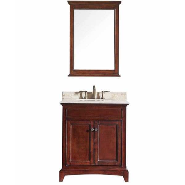 "Eviva Elite Stamford? 30"" Brown Solid Wood Bathroom Vanity Set with Double OG Crema Marfil Marble Top & White Undermount Porcelain Sink"
