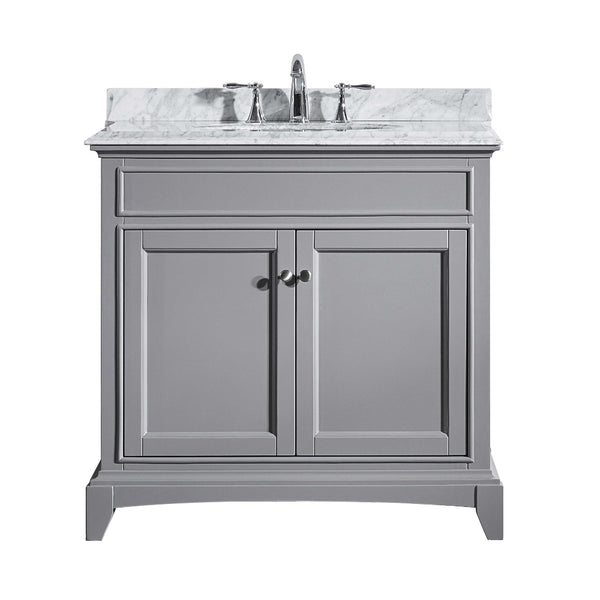 "Eviva Elite Stamford? 36""  Gray Solid Wood Bathroom Vanity Set with Double OG White Carrera Marble Top & White Undermount Porcelain Sink"