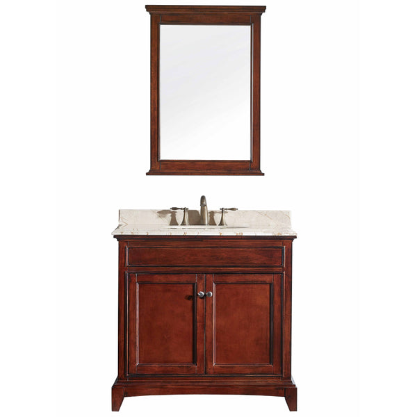 "Eviva Elite Stamford? 36"" Brown Solid Wood Bathroom Vanity Set with Double OG Crema Marfil Marble Top & White Undermount Porcelain Sink"