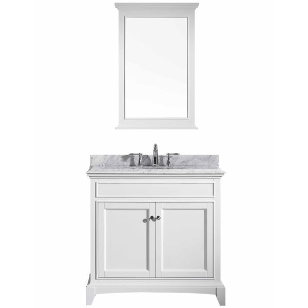 "Eviva Elite Stamford? 36"" White Solid Wood Bathroom Vanity Set with Double OG White Carrera Marble Top & White Undermount Porcelain Sink"