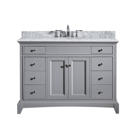 "Eviva Elite Stamford? 48""  Gray Solid Wood Bathroom Vanity Set with Double OG White Carrera Marble Top & White Undermount Porcelain Sink"