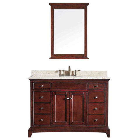"Eviva Elite Stamford? 48"" Brown Solid Wood Bathroom Vanity Set with Double OG Crema Marfil Marble Top & White Undermount Porcelain Sink"