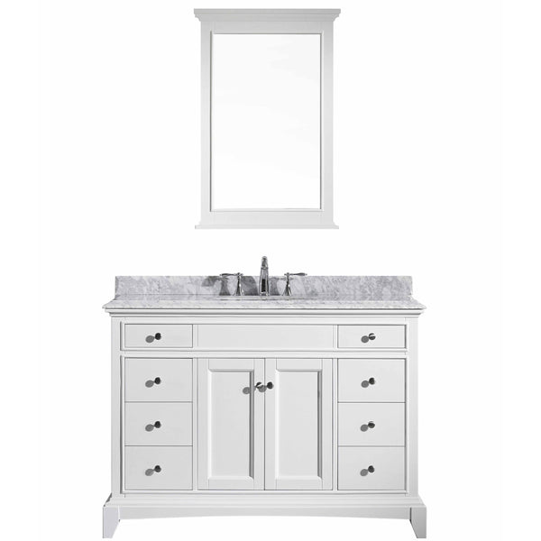 "Eviva Elite Stamford? 48"" White Solid Wood Bathroom Vanity Set with Double OG White Carrera Marble Top & White Undermount Porcelain Sink"