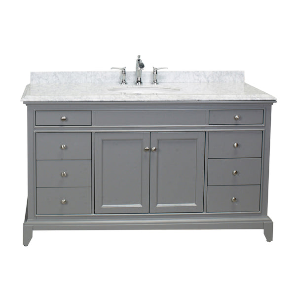 "Eviva Elite Stamford? 60"" Grey Solid Wood Single Bathroom Vanity Set with Double OG Crema Marfil Marble Top & White Undermount Porcelain Sink"