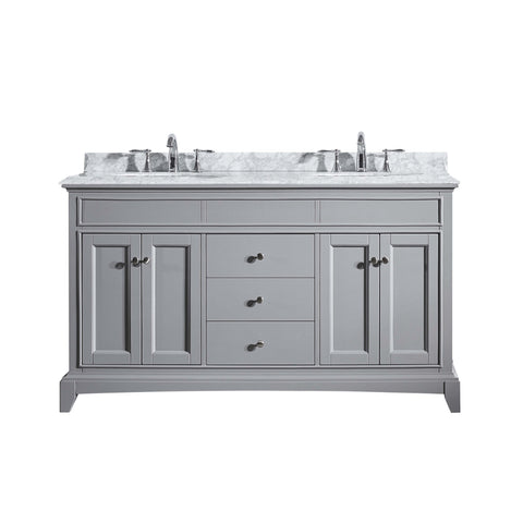 "Eviva Elite Stamford? 60""  Gray Solid Wood Bathroom Vanity Set with Double OG White Carrera Marble Top & White Undermount Porcelain Sinks"