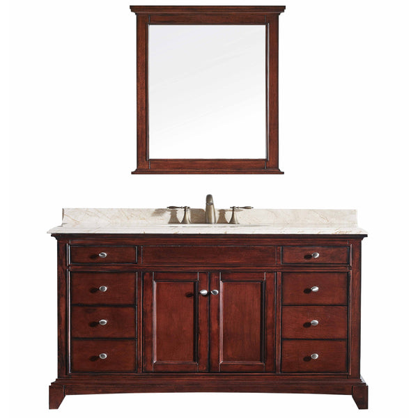 "Eviva Elite Stamford? 60"" Brown (Teak) Solid Wood Single Bathroom Vanity Set with Double OG Crema Marfil Marble Top & White Undermount Porcelain Sink"
