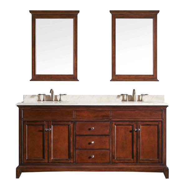 "Eviva Elite Stamford? 60"" Brown Solid Wood Bathroom Vanity Set with Double OG Crema Marfil Marble Top & White Undermount Porcelain Sinks"