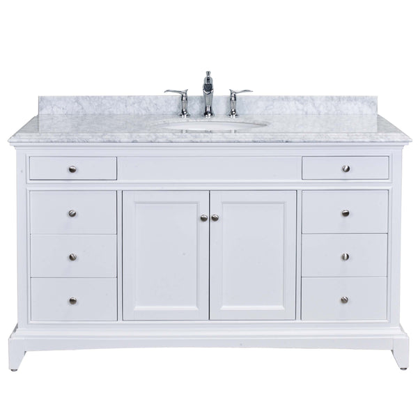 "Eviva Elite Stamford? 60"" White Solid Wood Single Bathroom Vanity Set with Double OG Crema Marfil Marble Top & White Undermount Porcelain Sink"