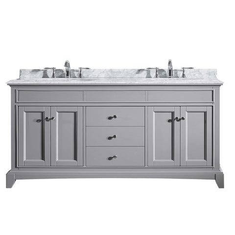 "Eviva Elite Stamford? 72""  Gray Solid Wood Bathroom Vanity Set with Double OG White Carrera Marble Top & White Undermount Porcelain Sinks"
