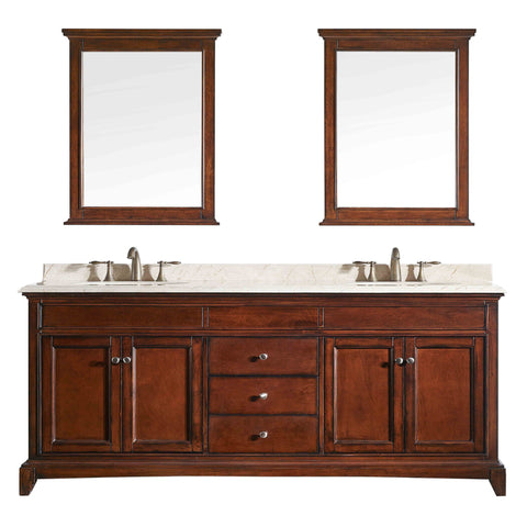 "Eviva Elite Stamford? 72"" Brown Solid Wood Bathroom Vanity Set with Double OG Crema Marfil Marble Top & White Undermount Porcelain Sinks"