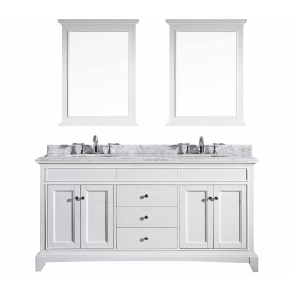 "Eviva Elite Stamford? 72"" White Solid Wood Bathroom Vanity Set with Double OG White Carrera Marble Top & White Undermount Porcelain Sinks"