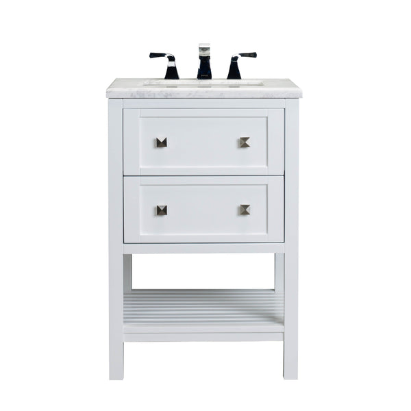 "Eviva Natalie F.? 24"" White Bathroom Vanity with White Jazz Marble Counter-top & White Undermount Porcelain Sink"