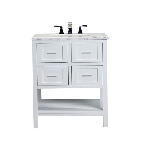 "Eviva Natalie F.? 30"" White Bathroom Vanity with White Jazz Marble Counter-top & White Undermount Porcelain Sink"