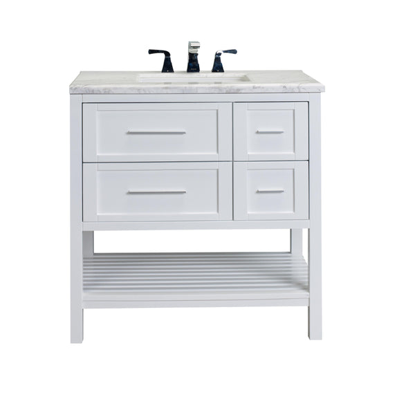 "Eviva Natalie Plus F.? 36"" White Bathroom Vanity with White Jazz Marble Counter-top & White Undermount Porcelain Sink"