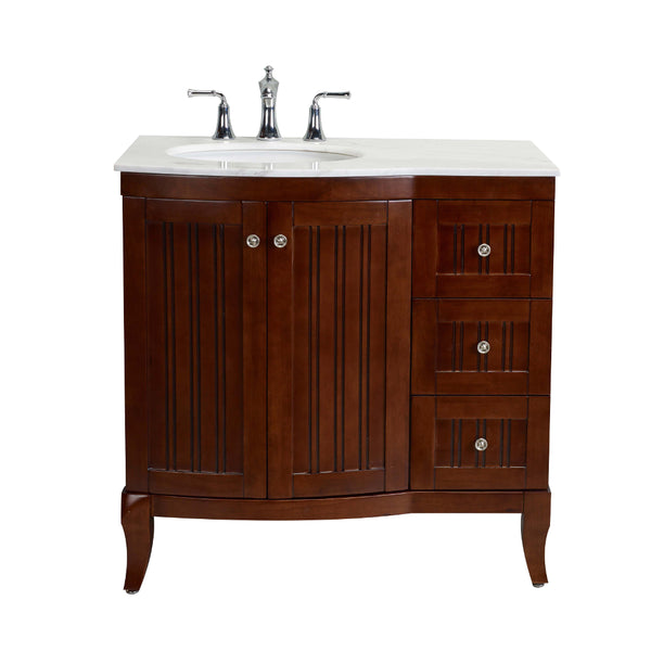 "Eviva Odessa Zinc 36"" Brown Transitional Bathroom Vanity Set With Counter-top"