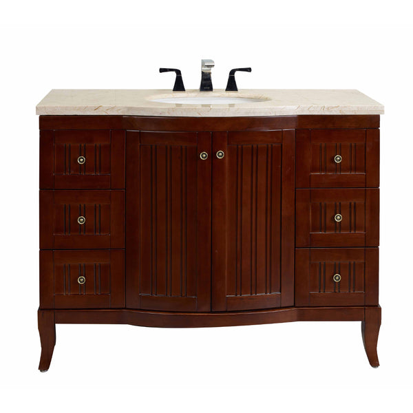 "Eviva Odessa Zinc 48"" Brown Bathroom Vanity Set with Crema Marfil Marble Counter-top"