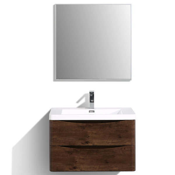 "Eviva Smile? 30"" Rosewood Modern Bathroom Vanity Set with Integrated White Acrylic Sink"